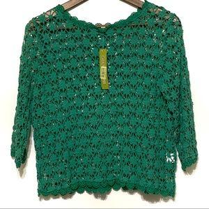 Gianni Bini Eliza Crocheted Sweater Green Medium